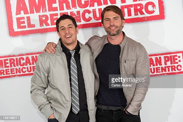 Actors Jason Biggs and Seann William Scott attend American Pie Reunion photocall at Villamagna Hotel on April 19 2012 in Madrid Spain
