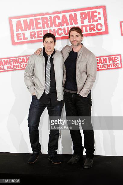 Actors Jason Biggs and Seann William Scott attend 'American Pie: Reunion' photocall at Villamagna Hotel on April 19, 2012 in Madrid, Spain.