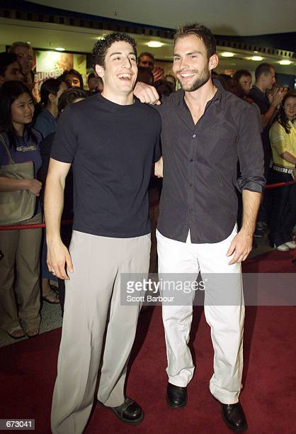 Actors Jason Biggs and Seann William Scott attend the Australian premiere of American Pie 2 November 22 2001 at the Village/Greater Union/Hoyts...