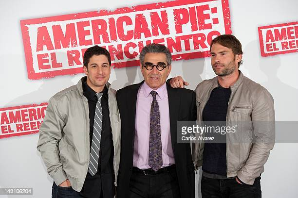 Actors Jason Biggs Eugene Levy and Seann William Scott attend American Pie Reunion photocall at Villamagna Hotel on April 19 2012 in Madrid Spain