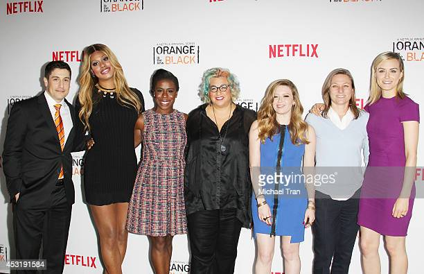 Actors Jason Biggs Laverne Cox Uzo Aduba Jenji Kohan Natasha Lyonne Netflix VP of Original Content Cindy Holland and actress Taylor Schilling arrive...