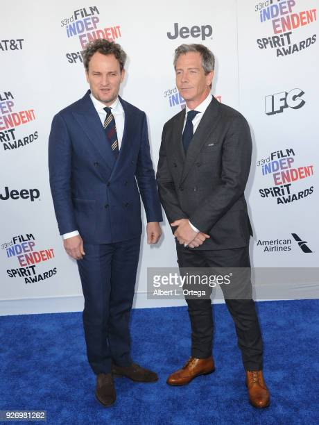 Actors Jason Clarke and Ben Mendelsohn arrive for the 2018 Film Independent Spirit Awards on March 3 2018 in Santa Monica California