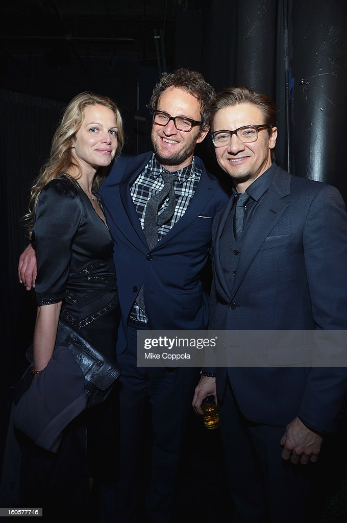 Actors Jason Clarke (C) and Jeremy Renner (R) attend CAA Sports Super Bowl Party presented By LG at Contemporary Arts Center on February 2, 2013 in New Orleans, Louisiana.