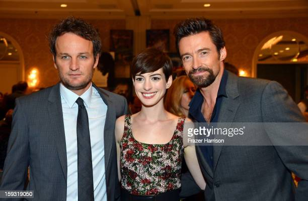 Actors Jason Clarke Anne Hathaway and Hugh Jackman attend the 13th Annual AFI Awards at Four Seasons Los Angeles at Beverly Hills on January 11 2013...