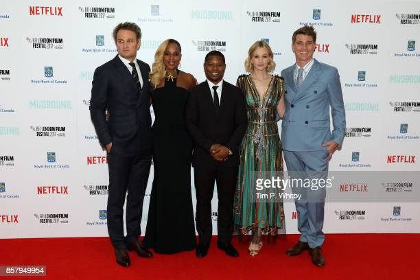 Actors Jason Clarke Mary J Blige Jason Mitchell Carey Mulligan and Garrett Hedlund attend the Royal Bank of Canada Gala European Premiere of...