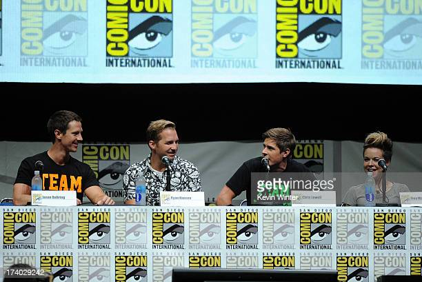 Actors Jason Dohring Ryan Hansen Chris Lowell and Tina Majorino speak onstage at the Veronica Mars special video presentation and QA during ComicCon...