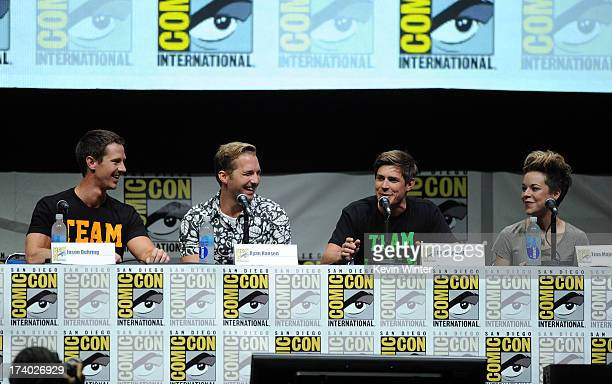 Actors Jason Dohring Ryan Hanson Chris Lowell and actress Tina Majorino speak onstage at the Veronica Mars special video presentation and QA during...