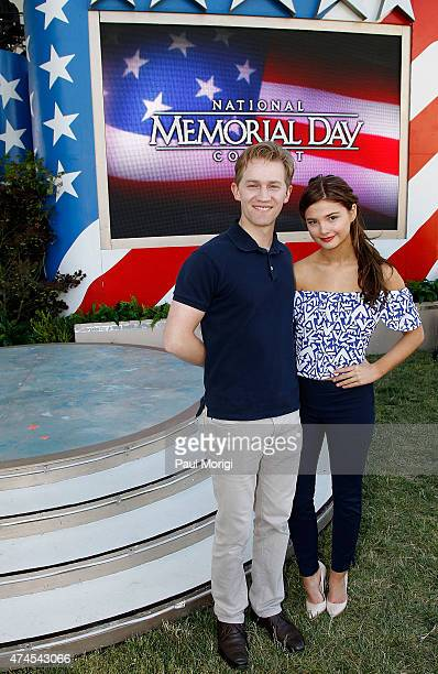 Actors Jason Dolley and Stefanie Scott pose for a photo at the 26th National Memorial Day Concert Rehearsals on May 23 2015 in Washington DC