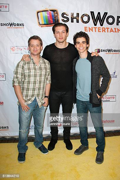 Actors Jason Earles Leo Howard and Cameron Boyce arrive at the ShoWorks Entertainment celebrates Young Hollywood event on March 4 2016 in Toluca Lake...