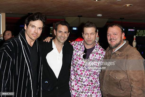 Actors Jason Gedrick Stephen Baldwin Steven Man and magician Paul David attend the Bowling After Dark Benefit at PINZ Entertainment Center on...