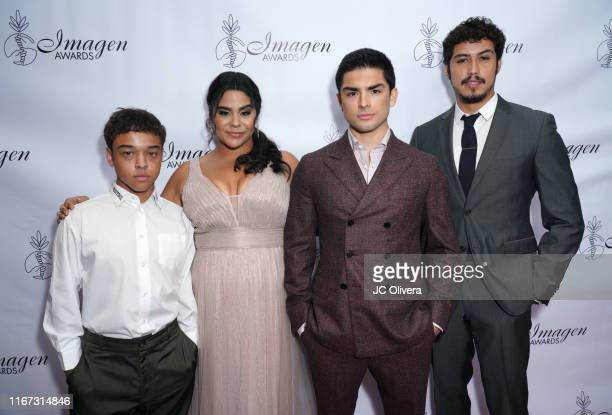 Actors Jason Genao Jessica Marie Garcia Diego Tinoco and Julio Macias attend the 34th Annual Imagen Awards at the Beverly Wilshire Four Seasons Hotel...