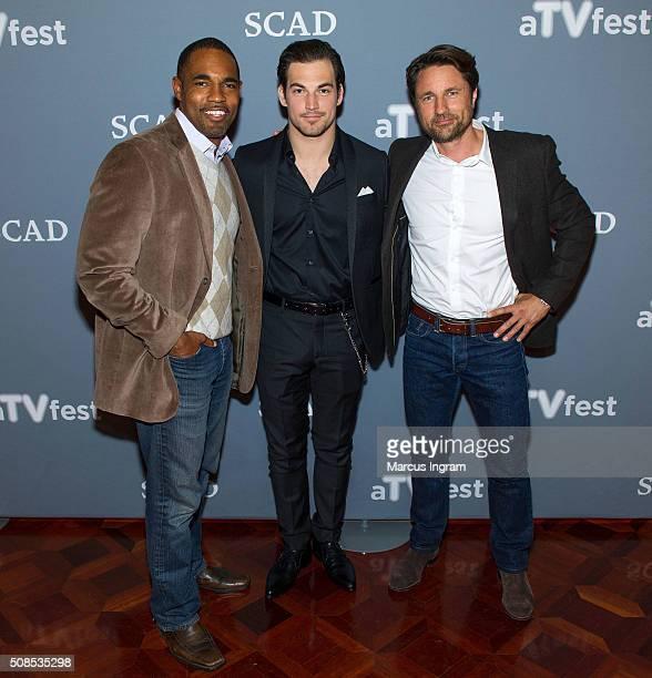 Actors Jason George Glacomo Glanniotti and Martin Henderson attend SCAD aTVfest 2016 Day1Grey's Anatomy at the Four Seasons Atlanta Hotel on February...
