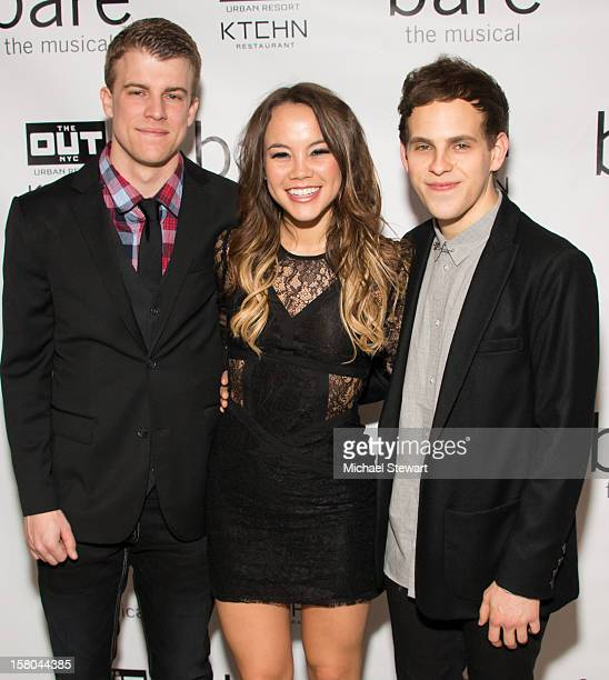 Actors Jason Hite Elizabeth Judd and Taylor Trensch attend BARE The Musical Opening Night After Party at Out Hotel on December 9 2012 in New York City