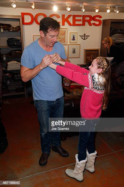 Actors Jason Isaacs and Avery Phillips attend The Variety Studio At Sundance Presented By Dockers on January 25 2015 in Park City Utah