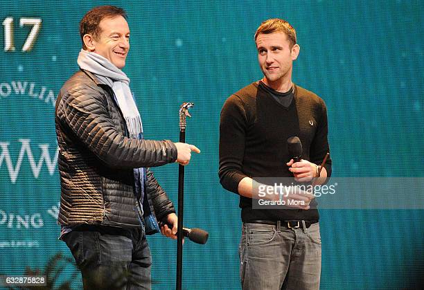 Actors Jason Isaacs and Matthew Lewis attend the fourth annual celebration of 'Harry Potter' opening night ceremony at Universal Orlando on January...