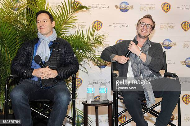 Actors Jason Isaacs and Tom Felton answer questions during the fourth annual celebration of 'Harry Potter' at Universal Orlando on January 27 2017 in...