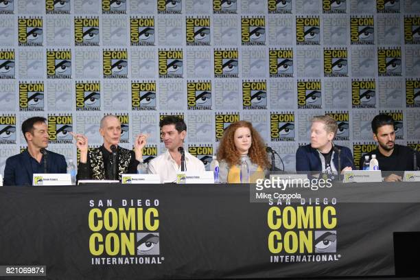 Actors Jason Isaacs Doug Jones James Frain Mary Wiseman and Anthony Rapp attend 'Star Trek Discovery' panel during ComicCon International 2017 at San...