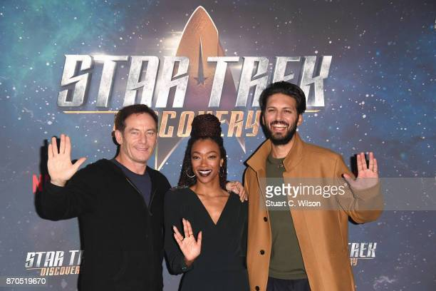Actors Jason Isaacs Sonequa MartinGreen and Shazad Latif attend the 'Star Trek Discovery' photocall at Millbank Tower on November 5 2017 in London...