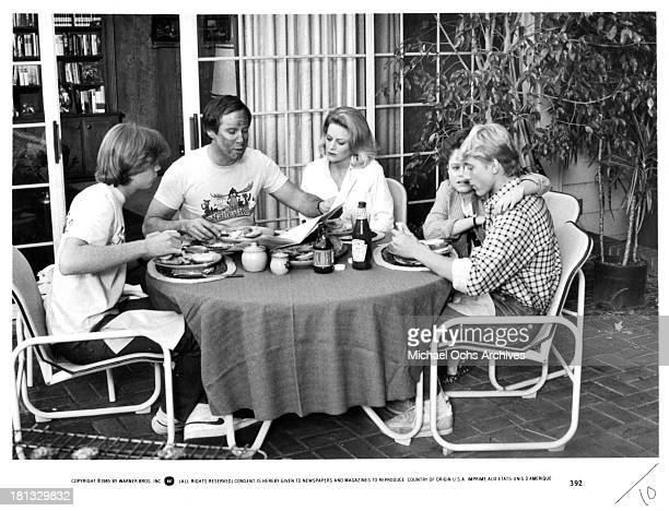 Actors Jason Lively Chevy Chase and actress Beverly D'Angelo and Dana Hill and actor William Zabka on set of the Warner Bros movie National Lampoon's...