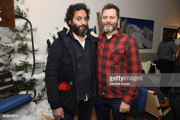 Actors Jason Mantzoukas and Nick Offerman attend the 'Hearts Beat Loud' afterparty at the Grey Goose Blue Door during Sundance Film Festival on...