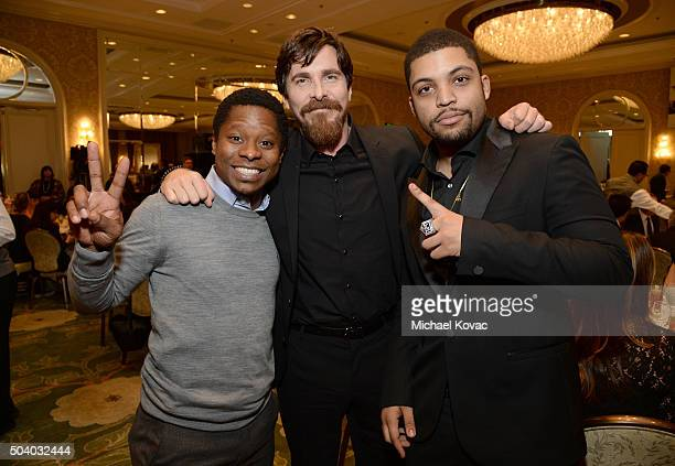 Actors Jason Mitchell Christian Bale and O'Shea Jackson Jr attend the 16th Annual AFI Awards at Four Seasons Hotel Los Angeles at Beverly Hills on...