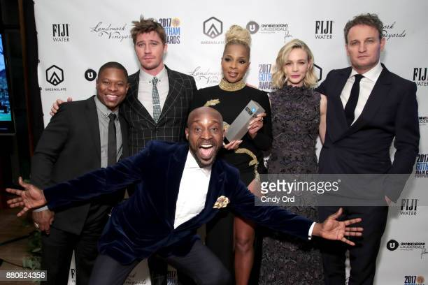 Actors Jason Mitchell Rob Morgan Mary J Blige Garrett Hedlund Carey Mulligan and Jason Clarke pose with the Special Jury Award – Ensemble Performance...