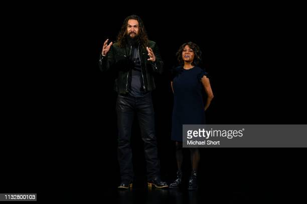 Actors Jason Momoa and Alfre Woodard speak during an Apple product launch event at the Steve Jobs Theater at Apple Park on March 25 2019 in Cupertino...