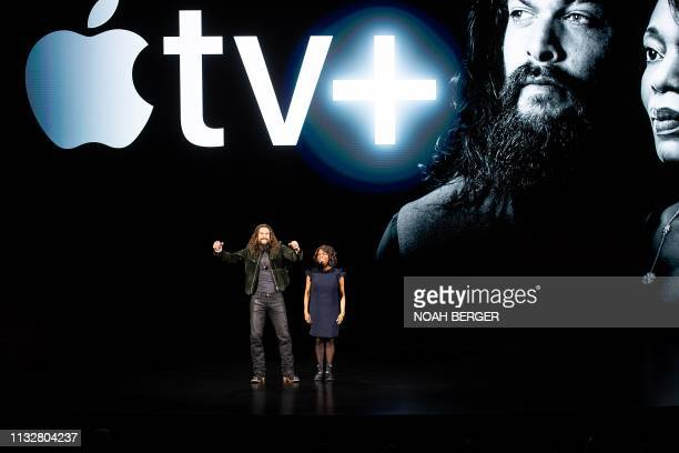 Actors Jason Momoa and Alfre Woodard speak during an event launching Apple tv at Apple headquarters on March 25 in Cupertino California