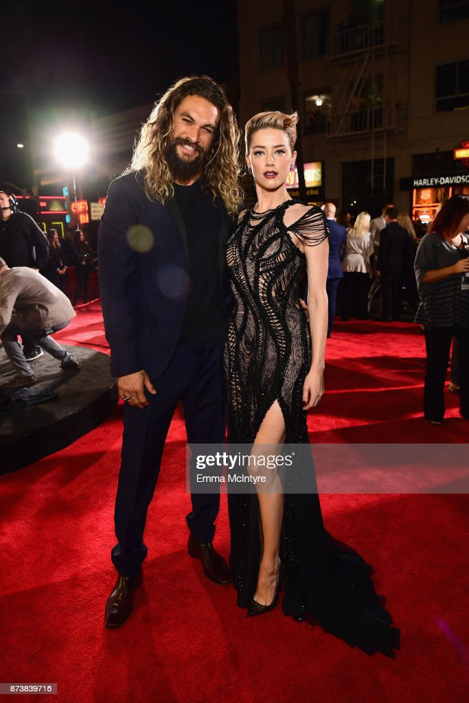 Actors Jason Momoa and Amber Heard attend the premiere of Warner Bros. Pictures' 'Justice League' at Dolby Theatre on November 13, 2017 in Hollywood, California.