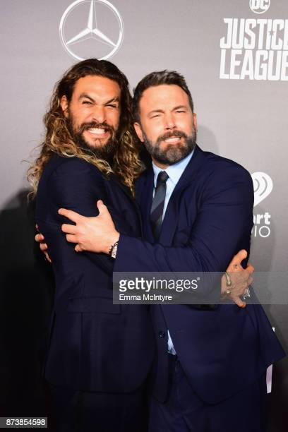 Actors Jason Momoa and Ben Affleck attend the premiere of Warner Bros Pictures' 'Justice League' at Dolby Theatre on November 13 2017 in Hollywood...