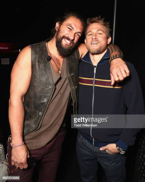 "Actors Jason Momoa and Charlie Hunnam at CinemaCon 2017 Warner Bros Pictures Invites You to ""The Big Picture"" an Exclusive Presentation of our..."