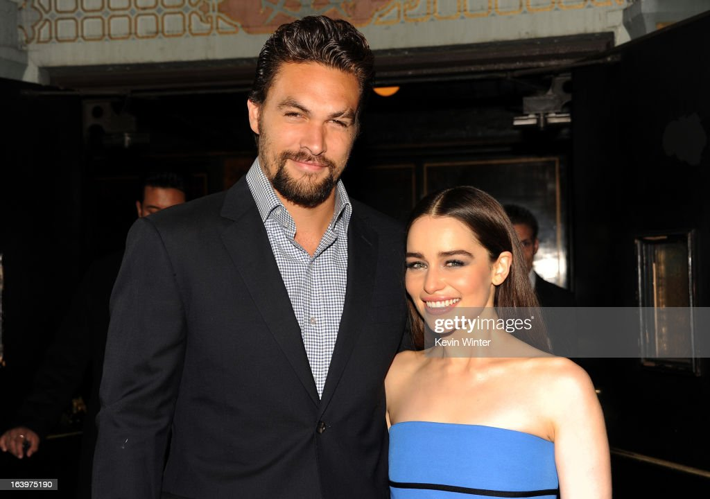 Actors Jason Momoa (L) and Emilia Clarke arrive at the premiere of HBO's 'Game Of Thrones' Season 3 at TCL Chinese Theatre on March 18, 2013 in Hollywood, California.