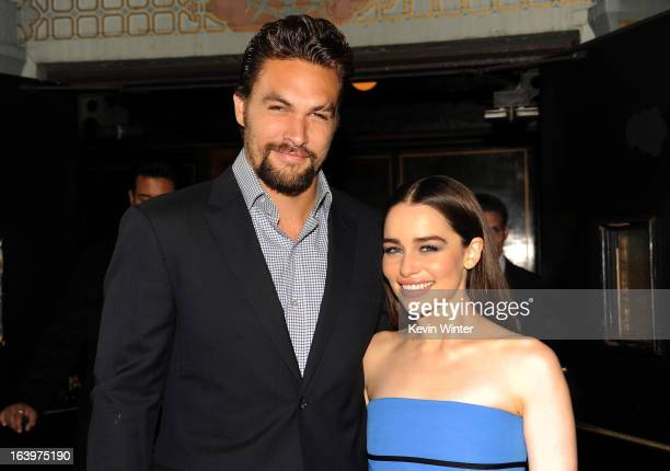 Actors Jason Momoa and Emilia Clarke arrive at the premiere of HBO's Game Of Thrones Season 3 at TCL Chinese Theatre on March 18 2013 in Hollywood...