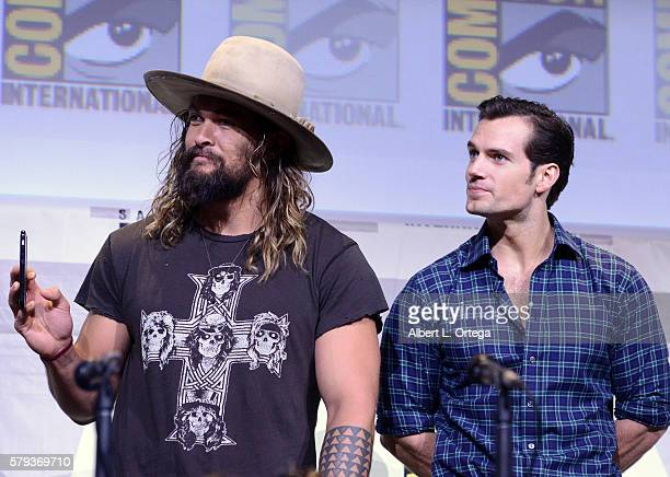 Actors Jason Momoa and Henry Cavill attend the Warner Bros Presentation during ComicCon International 2016 at San Diego Convention Center on July 23...