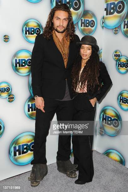 Actors Jason Momoa and Lisa Bonet arrive at HBO's Post 2012 Golden Globe Awards Party at Circa 55 Restaurant on January 15 2012 in Beverly Hills...
