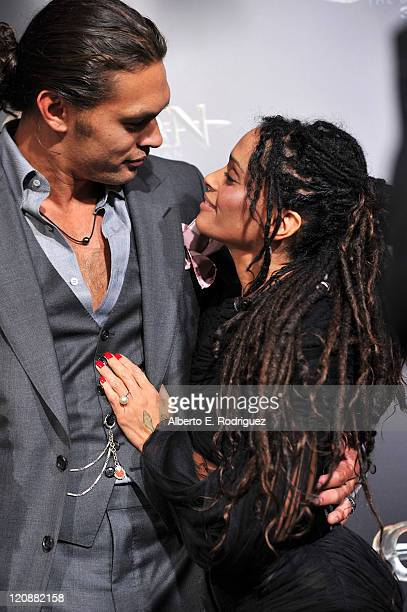 Actors Jason Momoa and Lisa Bonet arrive at the premiere of Lionsgate Films' Conan The Barbarian on August 11 2011 in Los Angeles California