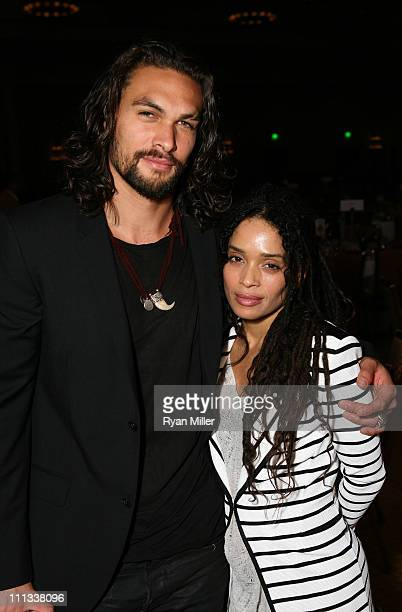 Actors Jason Momoa and Lisa Bonet attend CinemaCon the official convention of the National Association of Theatre Owners at The Colosseum of Caesars...