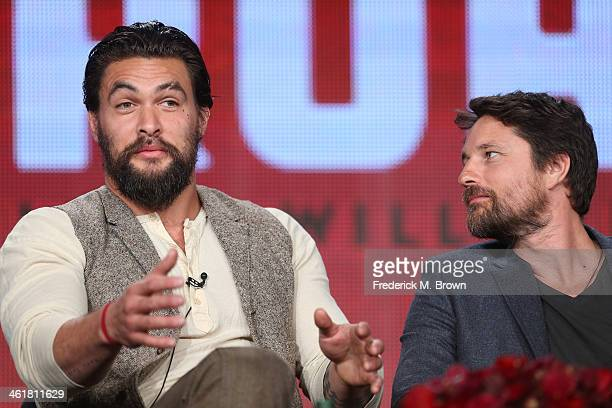 Actors Jason Momoa and Martin Henderson speak onstage during the 'Sundance Channel - The Red Road' panel discussion at the AMC/Sundance portion of...