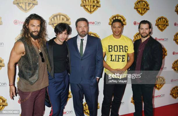 Actors Jason Momoa Ezra Miller Ben Affleck Ray Fisher and Henry Cavill arrive at the CinemaCon 2017 Warner Bros Pictures presentation of their...