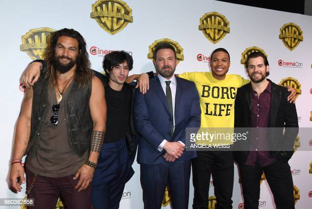 Actors Jason Mamoa Ezra Miller Ben Aflleck Ray Fisher and Henry Cavill arrive at CinemaCon 2017 Warner Bros Pictures Invites You to The Big Picture...