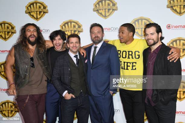 Actors Jason Momoa Ezra Miller Ben Aflleck Ray Fisher and Henry Cavill arrive at CinemaCon 2017 Warner Bros Pictures Invites You to The Big Picture...