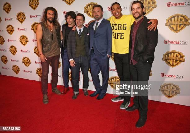 Actors Jason Momoa, Ezra Miller, director Zack Snyder, actors Ben Affleck, Ray Fisher and Henry Cavill attend the Warner Bros. Pictures presentation...