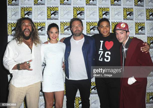 Actors Jason Momoa Gal Gadot Ben Affleck Ray Fisher and Ezra Miller from Justice League attend the Warner Bros Pictures Presentation during ComicCon...