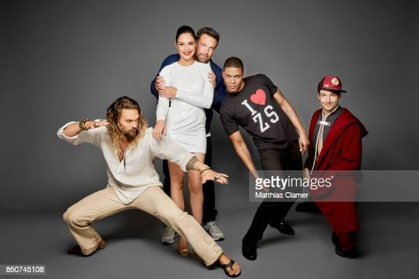 Actors Jason Momoa Gal Gadot Ben Affleck Ray Fisher and Ezra Miller from Justice League are photographed for Entertainment Weekly Magazine on July 22...