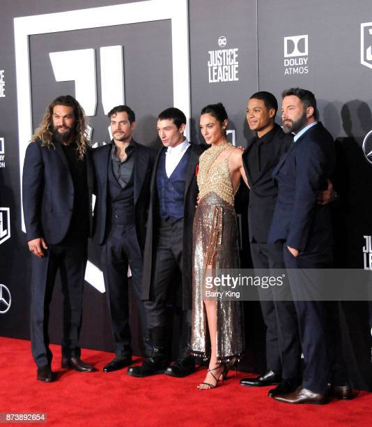 Actors Jason Momoa, Henry Cavill, Ezra Miller, actress Gal Gadot and actors Ray Fisher and Ben Affleck attend the premiere of Warner Bros. Pictures'...