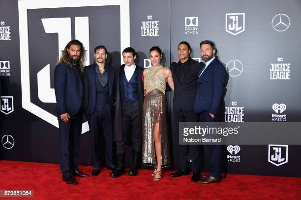 Actors Jason Momoa Henry Cavill Ezra Miller Gal Gadot Ray Fisher and Ben Affleck attend the premiere of Warner Bros Pictures' 'Justice League' at...