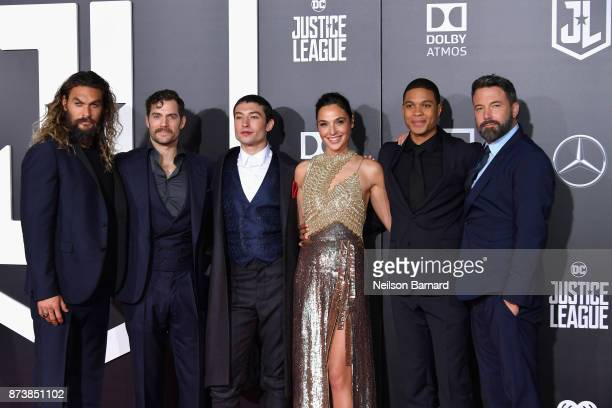 Actors Jason Momoa Henry Cavill Ezra Miller Gal Gadot Ray Fisher and Ben Affleck attend the premiere of Warner Bros Pictures' Justice League at Dolby...