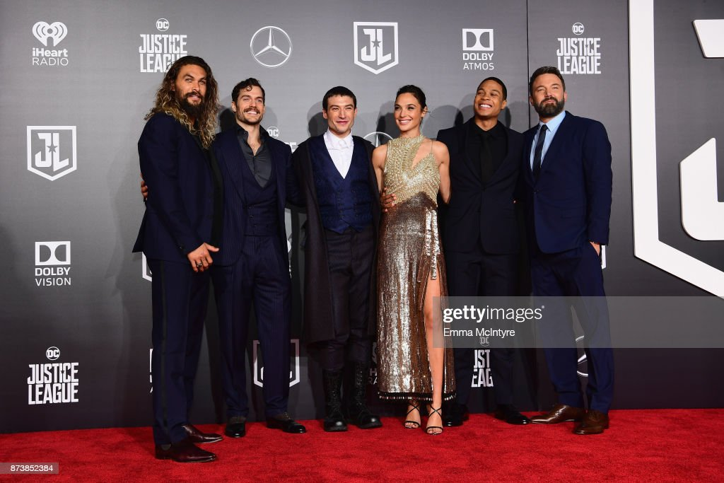 Actors Jason Momoa, Henry Cavill, Ezra Miller, Gal Gadot, Ray Fisher, and Ben Affleck attend the premiere of Warner Bros. Pictures' 'Justice League' at Dolby Theatre on November 13, 2017 in Hollywood, California.