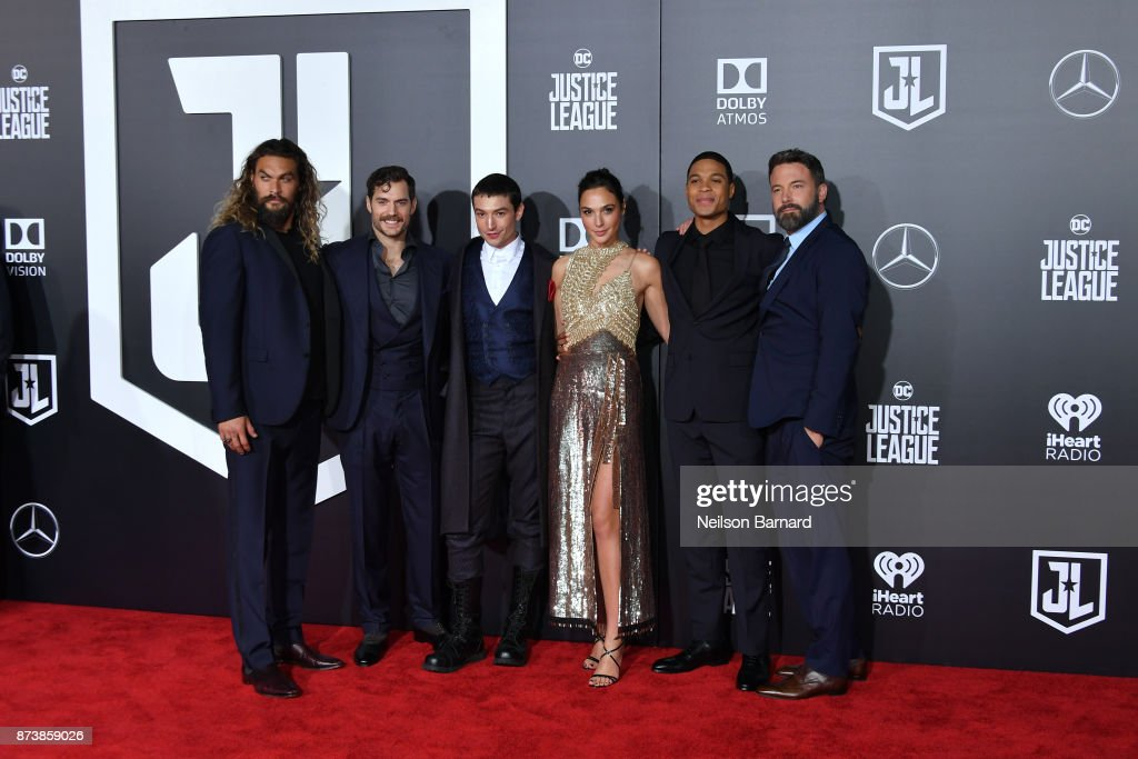 Actors Jason Momoa, Henry Cavill, Ezra Miller, Gal Gadot, Ray Fisher, and Ben Affleck attend the premiere of Warner Bros. Pictures 'Justice League' at the Dolby Theatre on November 13, 2017 in Hollywood, California.