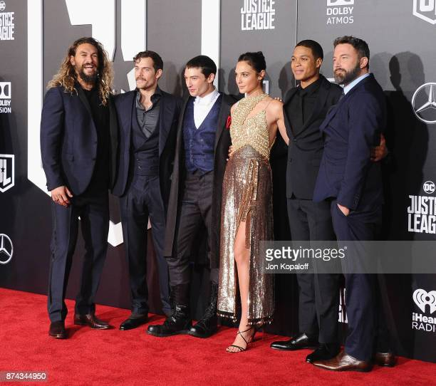 Actors Jason Momoa Henry Cavill Ezra Miller Gal Gadot Ray Fisher and Ben Affleck attend the Los Angeles Premiere of Warner Bros Pictures' 'Justice...